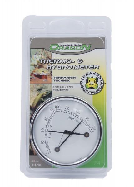 Thermo&Hygrometer analog weiss, rund mit Silberring