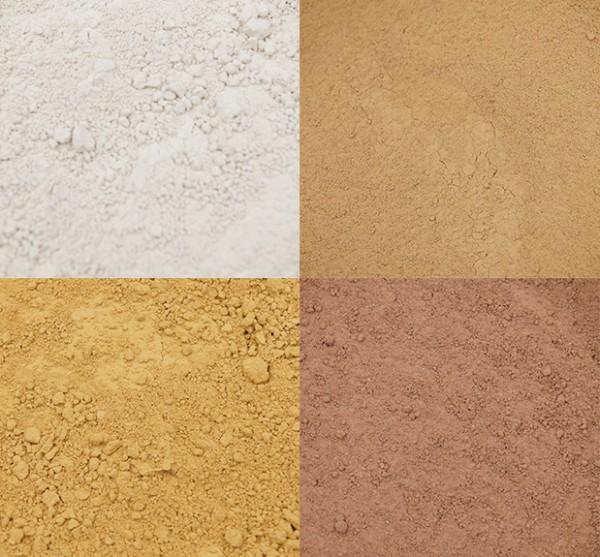Lehmpulver rot|weiss|braun|gelb